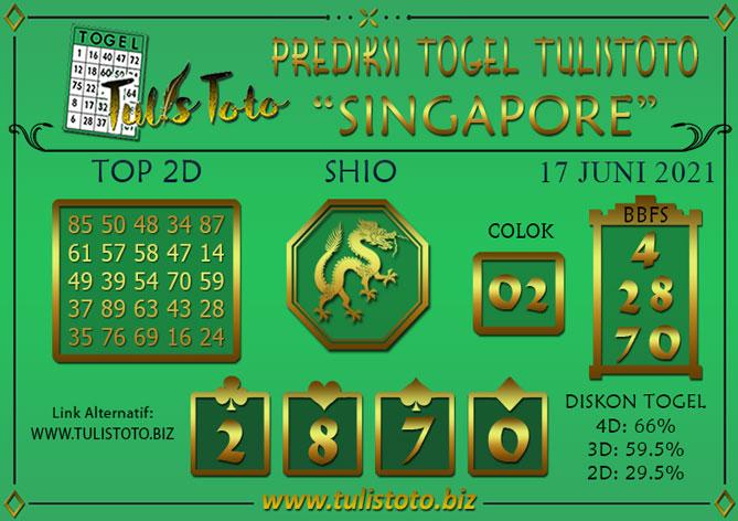 Prediksi Togel SINGAPORE TULISTOTO 17 JUNI 2021