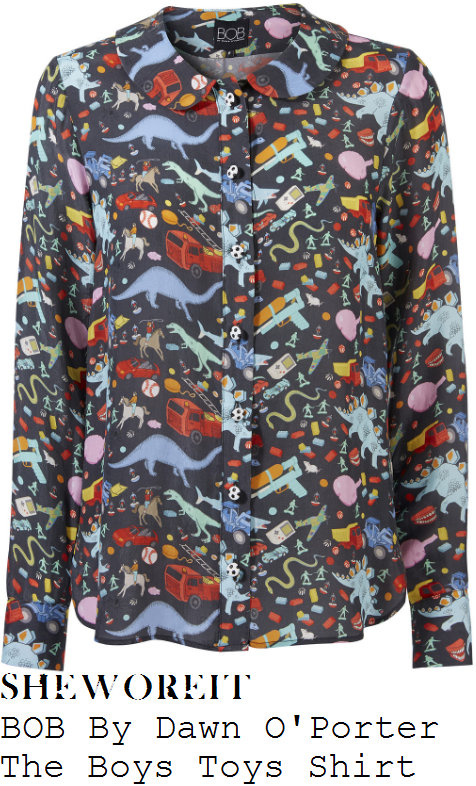 gaby-roslin-bob-by-dawn-o'porter-the-boys-toys-black-and-bright-multicoloured-dinosaur-fire-engine-water-pistol-and-boys-toys-print-long-sleeve-peter-pan-collar-button-up-shirt