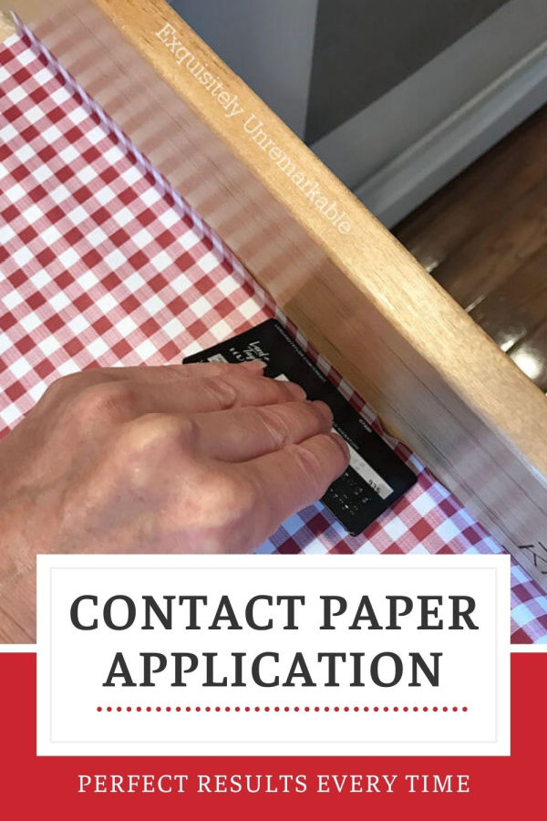 Contact Paper Application perfect results every time, hand using credit card to smooth paper