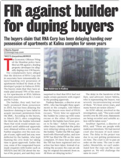 FIR against Directors Anubhav, Gukul & Saranga of RNA builders for duping buyers EOW not arresting the Accused 2