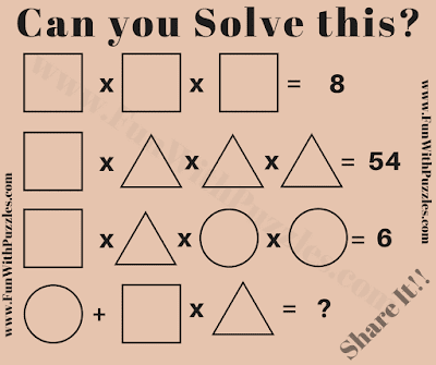 In this Math Brain Teaser your challenge is to solve the given Algebraic equation for finding value of Triangle, Square and Circle