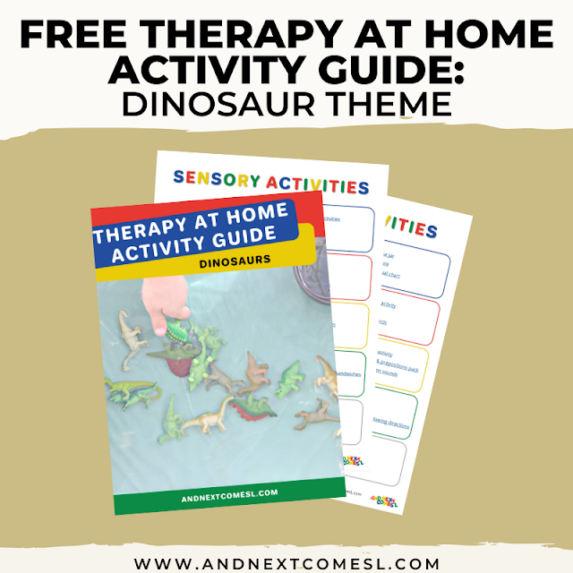 Dinosaur themed activities for kids that can be done as therapy at home