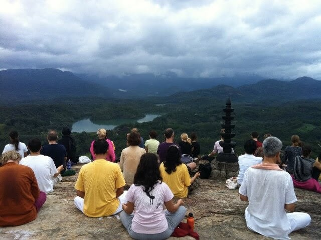 Meditation at a hill near the ashram