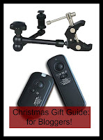 Swing arm clamp and camera remote with title text