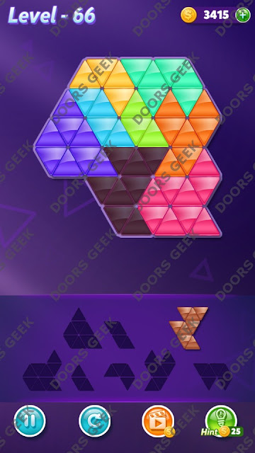 Block! Triangle Puzzle Expert Level 66 Solution, Cheats, Walkthrough for Android, iPhone, iPad and iPod