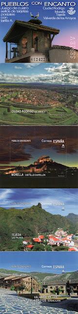 sellos, pueblos con encanto, filatelia, Ciudad Rodrigo, Morella, Tejeda, Valverde de los Arroyos.