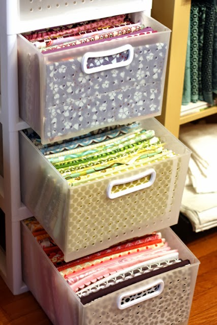 Fold fabric and place in drawers