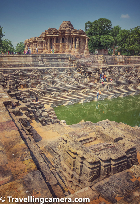 The stepwell on the west of Kunda has one entrance and two pavilion-towers. It is moderately ornamented as you can make out from photographs of Modhera Sun Temple complex.