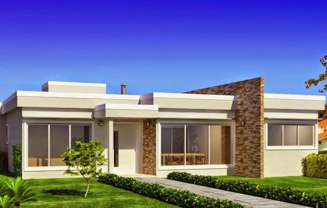 Construindo minha casa clean pedras decorativas for Fachadas de casas modernas 1 pavimento