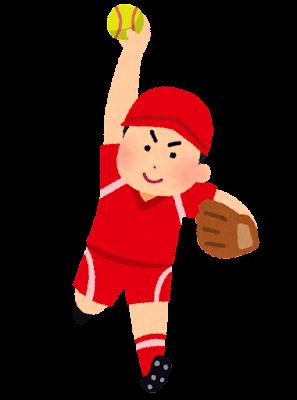 ソフトボールのイラスト(男性)