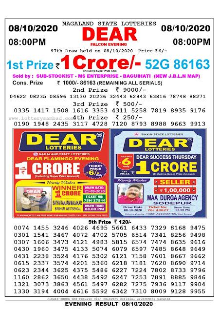 Lottery Sambad Result 08.10.2020 Dear Falcon Evening 8:00 pm
