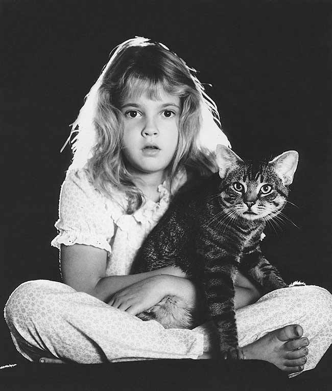 cat with Drew Barrymore
