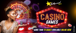 Roulette Wheel behind model standing next to Casino Games graphic