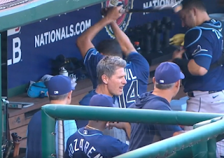 Tampa Bay Rays pitcher Rich Hill smashes dugout bench with bat vs Nationals, 6/29/2021