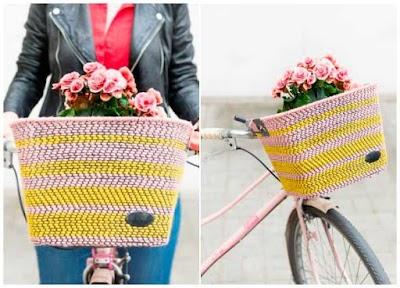 Cesta tejida para bicicletas para llevar nuestros tejidos