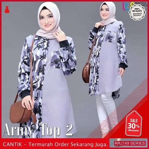 Jual RRJ149A170 Atasan Muslim Wanita Wallycrepe Army Tunik BMGShop