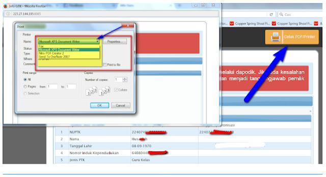 menu cetak atau tombol cetak pdf pada info gtk guru