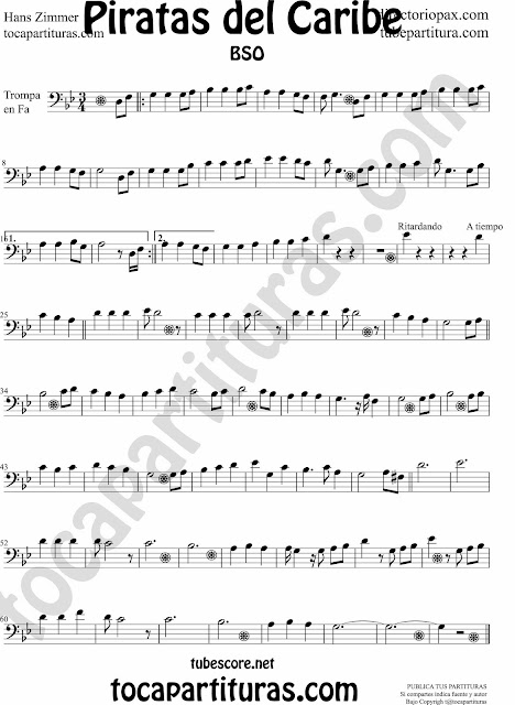 Sheet music Pirates of the Caribbean in Bass Clef in fourth line