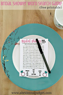 Looking for a fun bridal shower game? Get this Bridal Shower Word Search free printable at www.abrideonabudget.com.