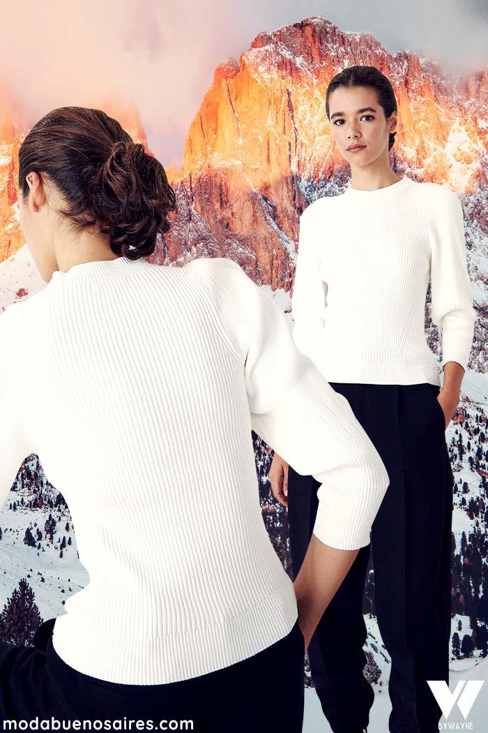 camisetas basicas mangas largas moda mujer invierno 2021