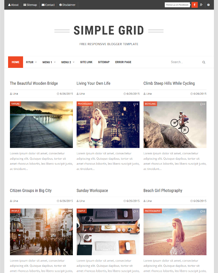 Simple Grid Responsive Blogger Template