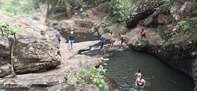 Bathing Scene of Nanidnia Waterfall of Hindol