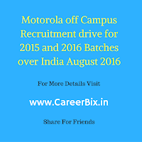 Motorola off Campus Recruitment drive for 2015 and 2016 Batches over India August 2016