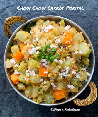 Chow Carrot Poriyal / Chayote Carrot Stir Fry