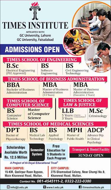 Times Institute Multan admissions open