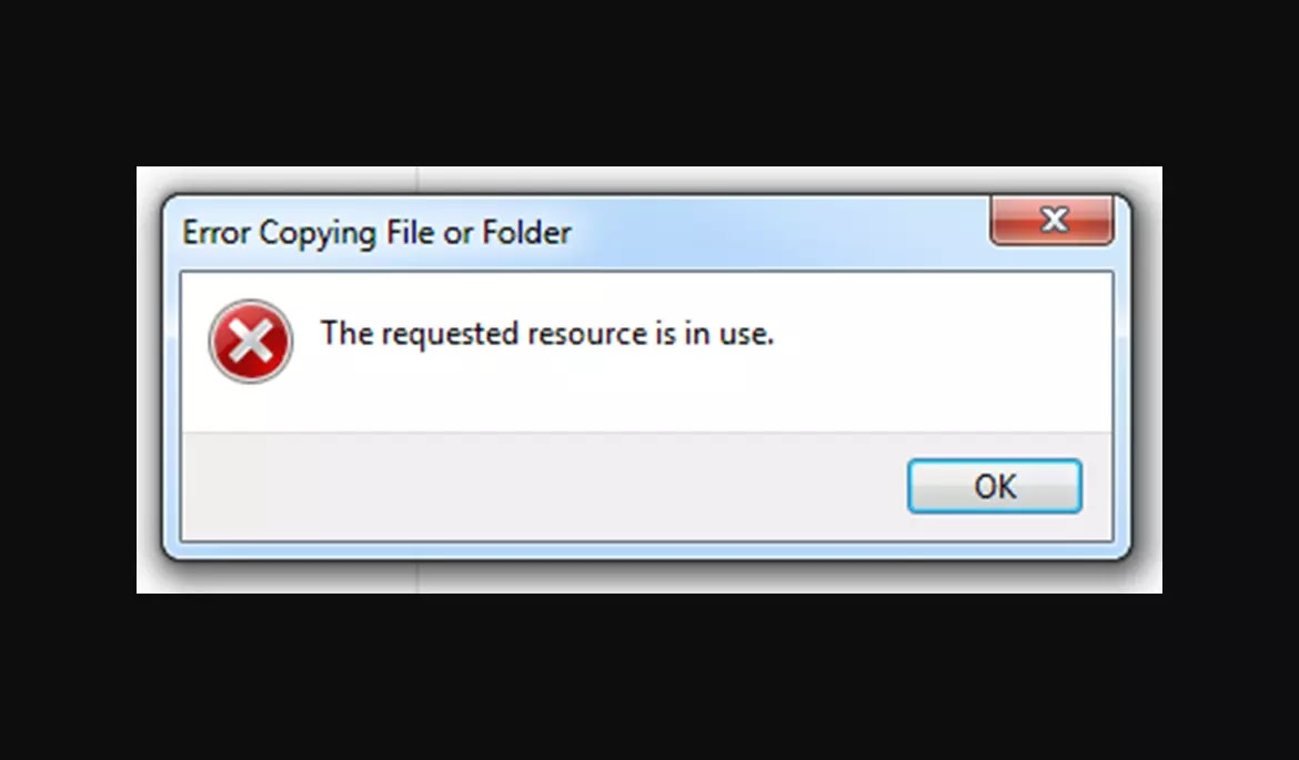error The requested resource is in use