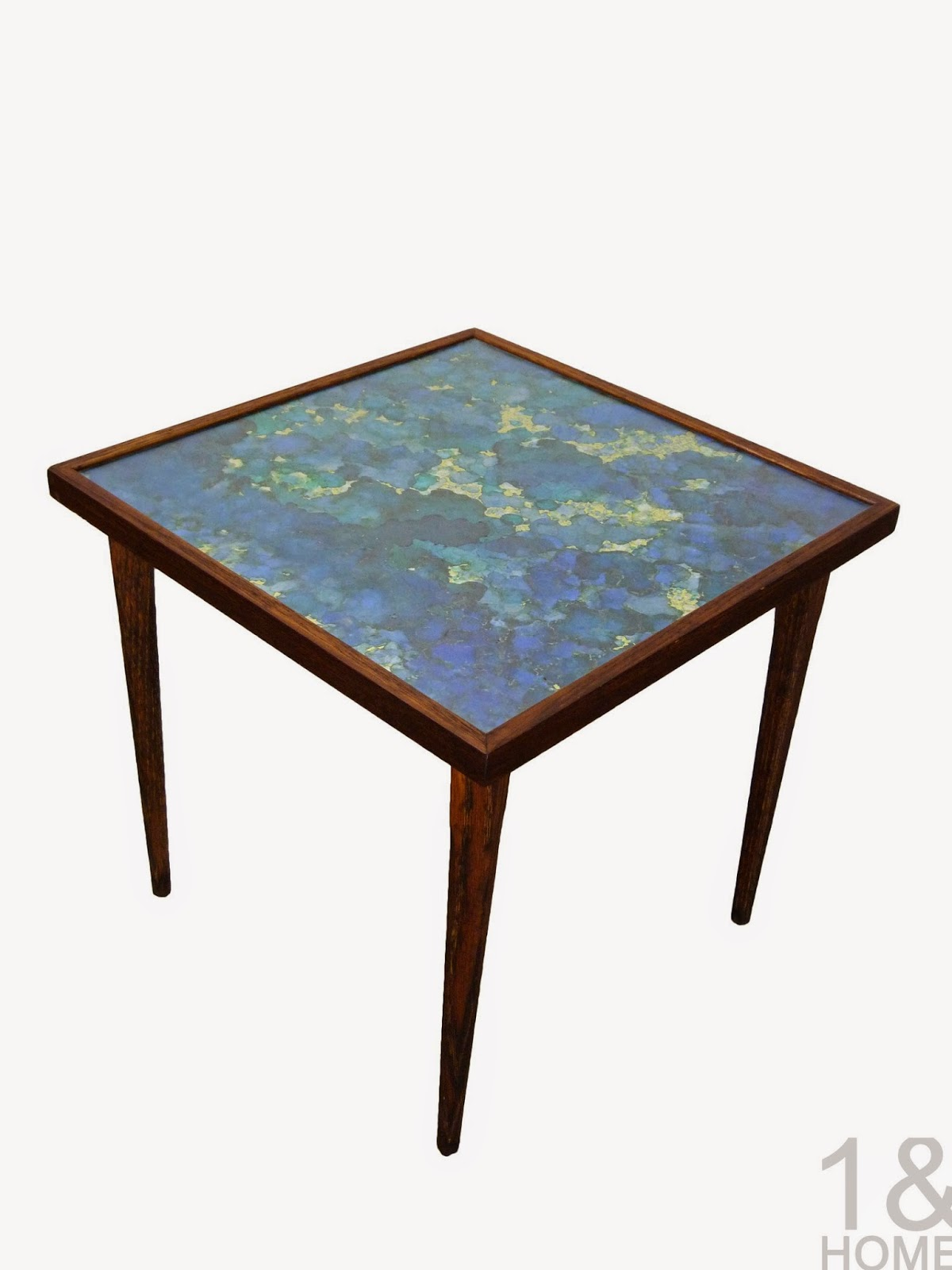 Mid-Century Modern Variegated Foil Inlay Side Table Img 1