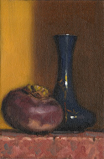 Still life oil painting of a small blue garlic-head vase beside a turnip.