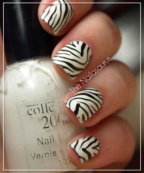 Zebra Prints Nail Art Design
