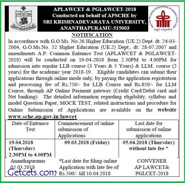 AP LAWCET notification 2018-2019, apply online, exam date