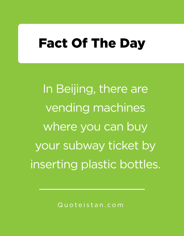 In Beijing, there are vending machines where you can buy your subway ticket by inserting plastic bottles.