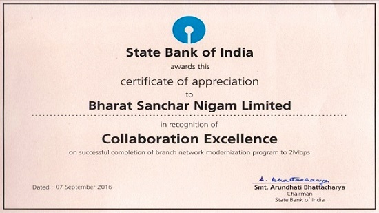 State Bank of India (SBI) awarded certificate of excellence to BSNL