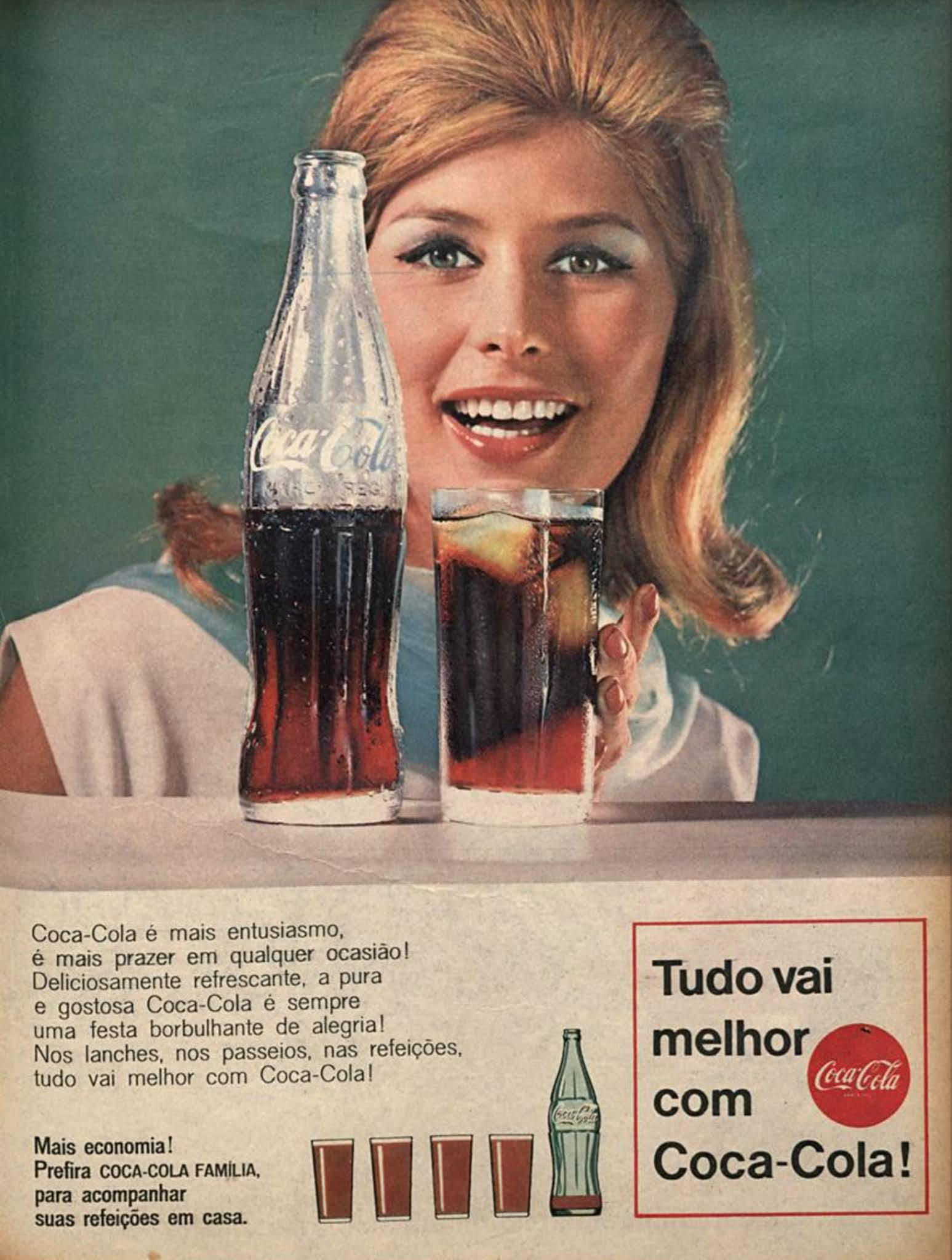 Anúncio antigo da Coca-Cola veiculado em revistas brasileiras em 1967