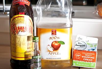 fall cocktail, autumn cocktail, thanksgiving cocktail, apple vodka, coffee liqueur, apple cider, cream