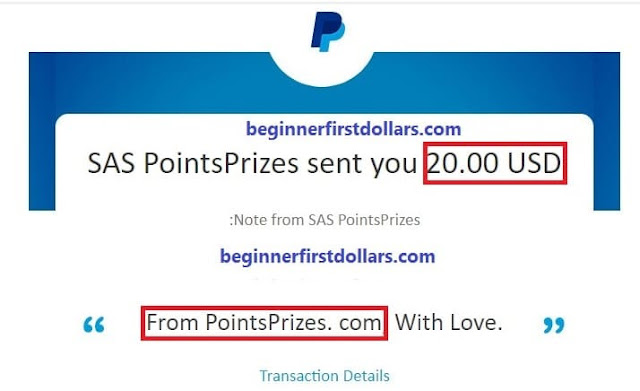 points peizes payment proof