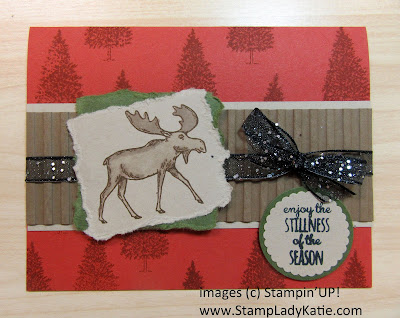 Rustic country Christmas Card using Stampin'UP!'s Merry Moose stamp set