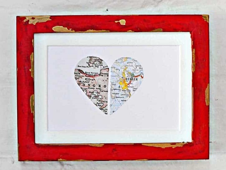 This easy DIY Valentines Day map gift is a perfect gift for lovers.