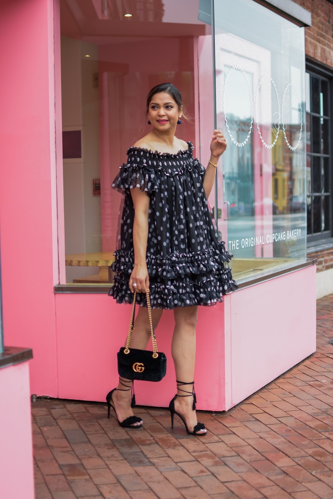 ASOS POLKA DOT SWING MESH DRESS, BLACK TULLE DRESS, STEVE MADDEN FRINGE HEELS, LACE UP HEELS PARTY TIME, WEEKEND LOOK, POLKA DOT DRESS, SPRING STYLE OFF THE SHOULDER DRESS , Myriad musings