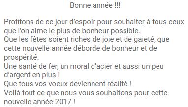 Bonne Année 2017 Messages