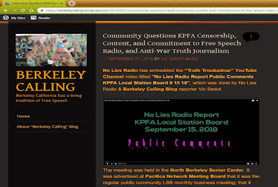 Community Questions KPFA Censorship, Content, and Commitment to Free Speech Radio & Anti-War Truth Journalism