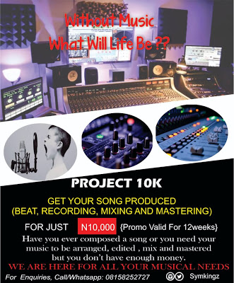 PROJECT 10K: Get Your Song Produced (beat, recording, m&m) For Just 10k