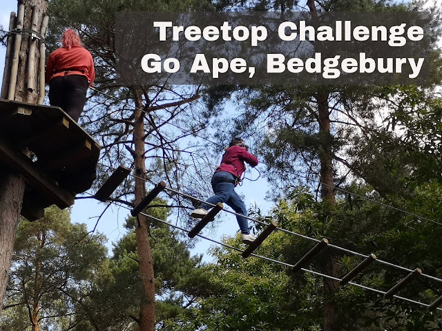 2 females on Go ape treetop challenge