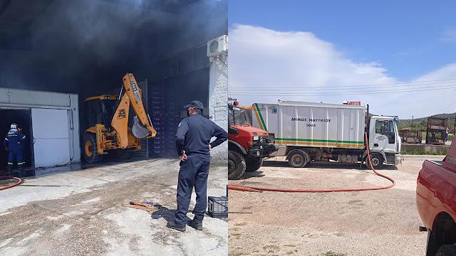 Σημαντική συνδρομή από την Πολιτική Προστασία του Δήμου Ναυπλιέων στην κατασβεση της φωτιάς σε εργοστάσιο στο Παναρίτι