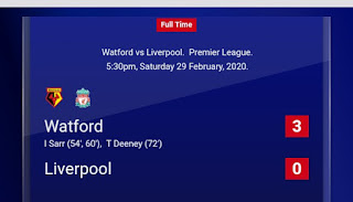 Watford Ends Liverpool's Record-breaking Runs At 3-0 Defeat