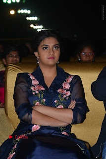 Actress Keerthi Suresh Stills in Blue Long Dress at Nenu Local Audio Launch  0030.JPG