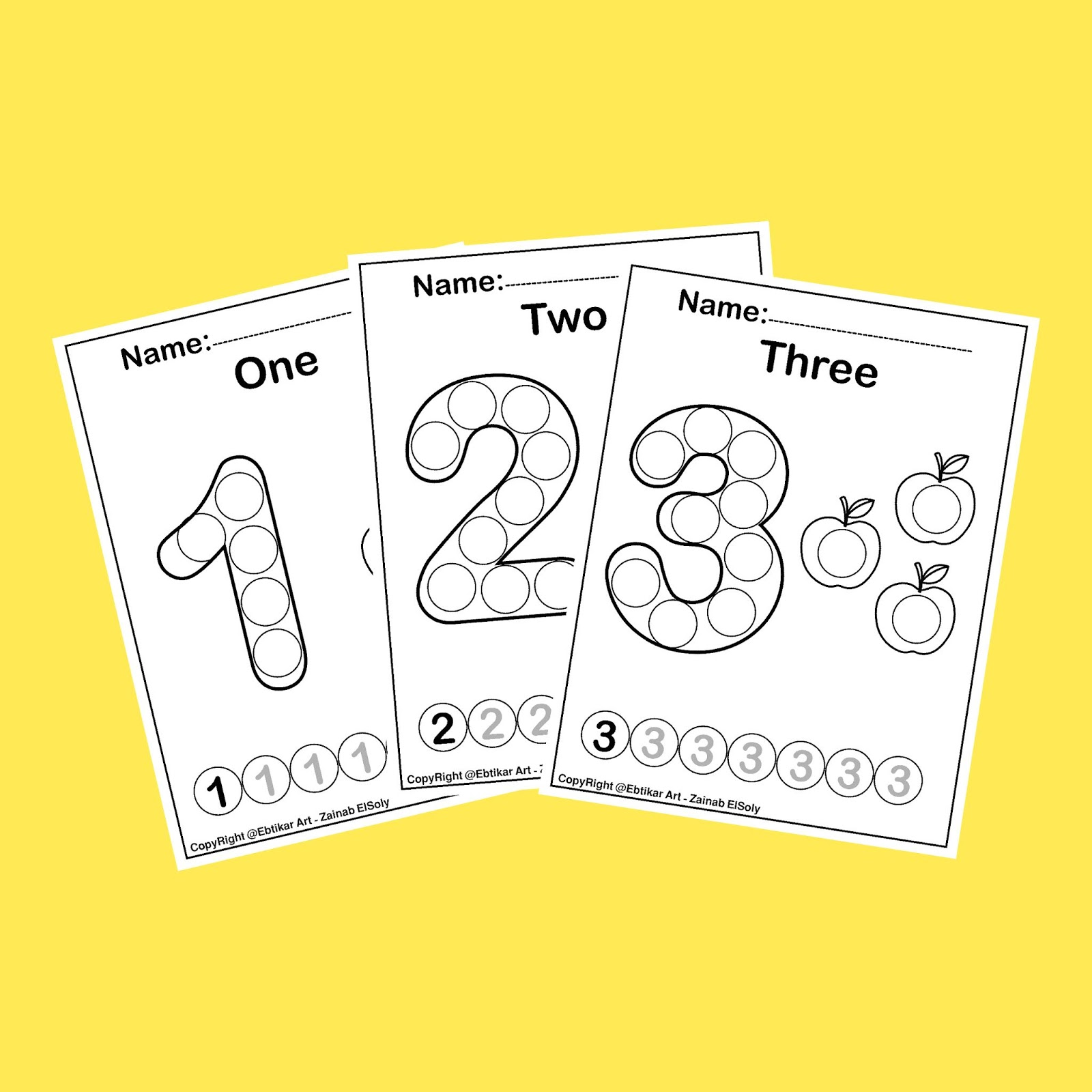 Numbers 123 Count Apples Dot Activity Free Preschool